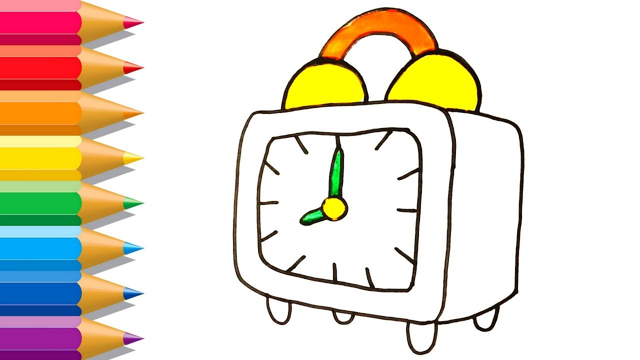 1280x720 Alarm Clock Drawing And Coloring For Kids Coloring Pages