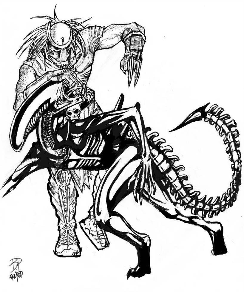 Alien vs predator drawing free download best alien vs
