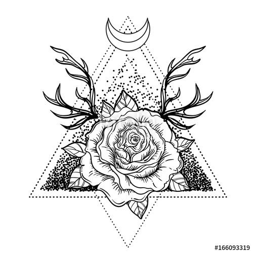 500x500 All Seeing Eye Symbol Over Rose Flower And Deer Antlers Sacred