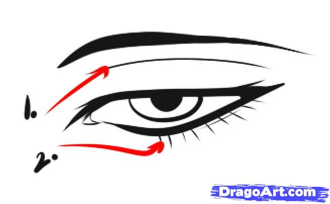 655x406 How To Draw Male Eyes, Step