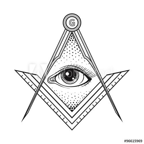 500x500 Masonic Square And Compass Symbol With All Seeing Eye Freemaso