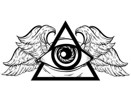 450x347 Vector Hand Sketched Illustration All Seeing Eye Pyramid Symbol