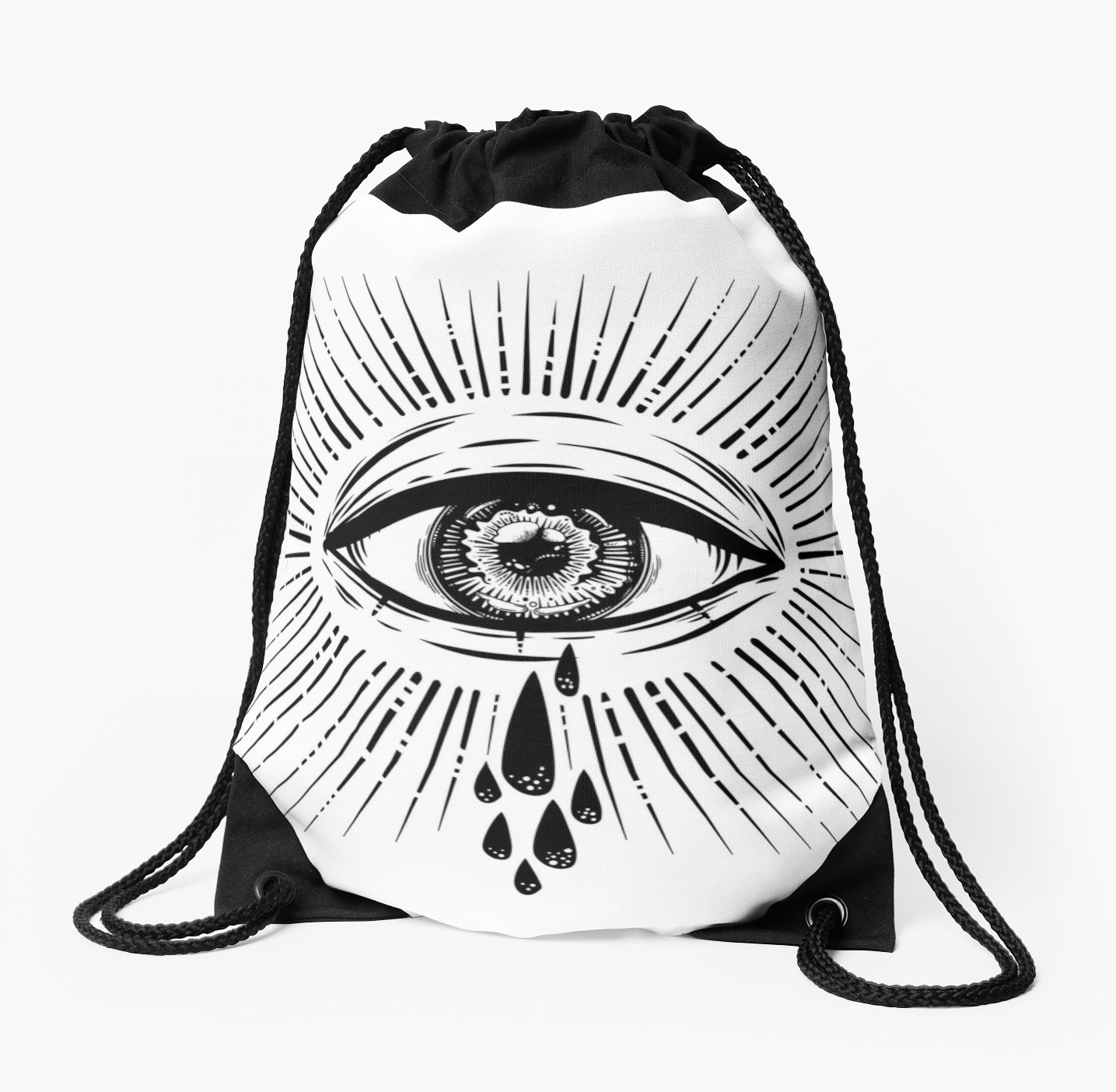 1435x1404 All Seeing Eye Crying Watery Tears Drawstring Bag