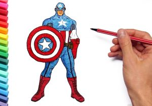 300x210 captain america drawing color how to draw captain america chris