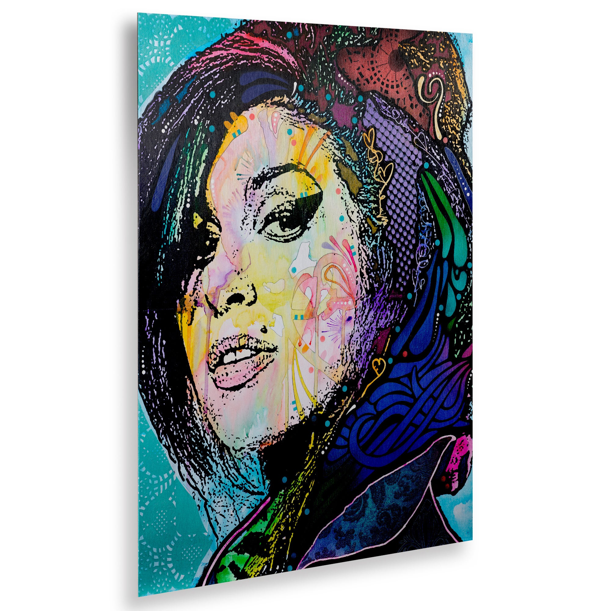 2000x2000 shop dean russo 'amy winehouse' floating brushed aluminum art