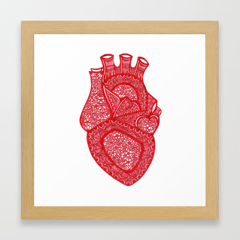 1500x1500 Anatomically Correct Heart Design Framed Art Print