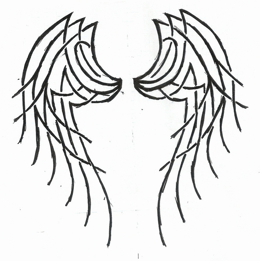 891x896 angel wing sketches beautiful for closed angel wing drawings clip