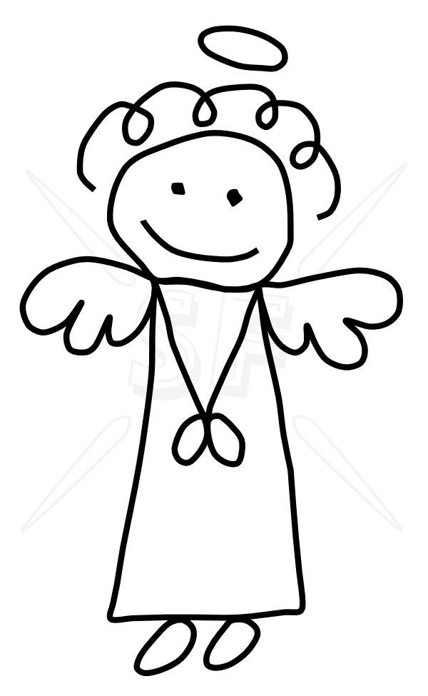 600x975 Click To Close Stick People And Other Art Angel Drawing, Stick