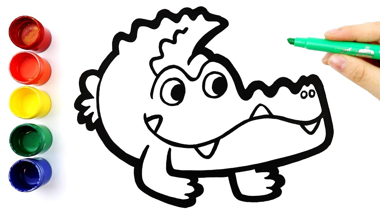 1280x720 Glitter Crocodile Coloring And Drawing For Kids, Toddlers L Angel