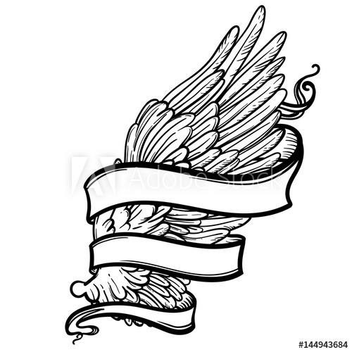 500x500 Line Art Illustration Of Angel Wing And Ribbon Hand Drawn Vector