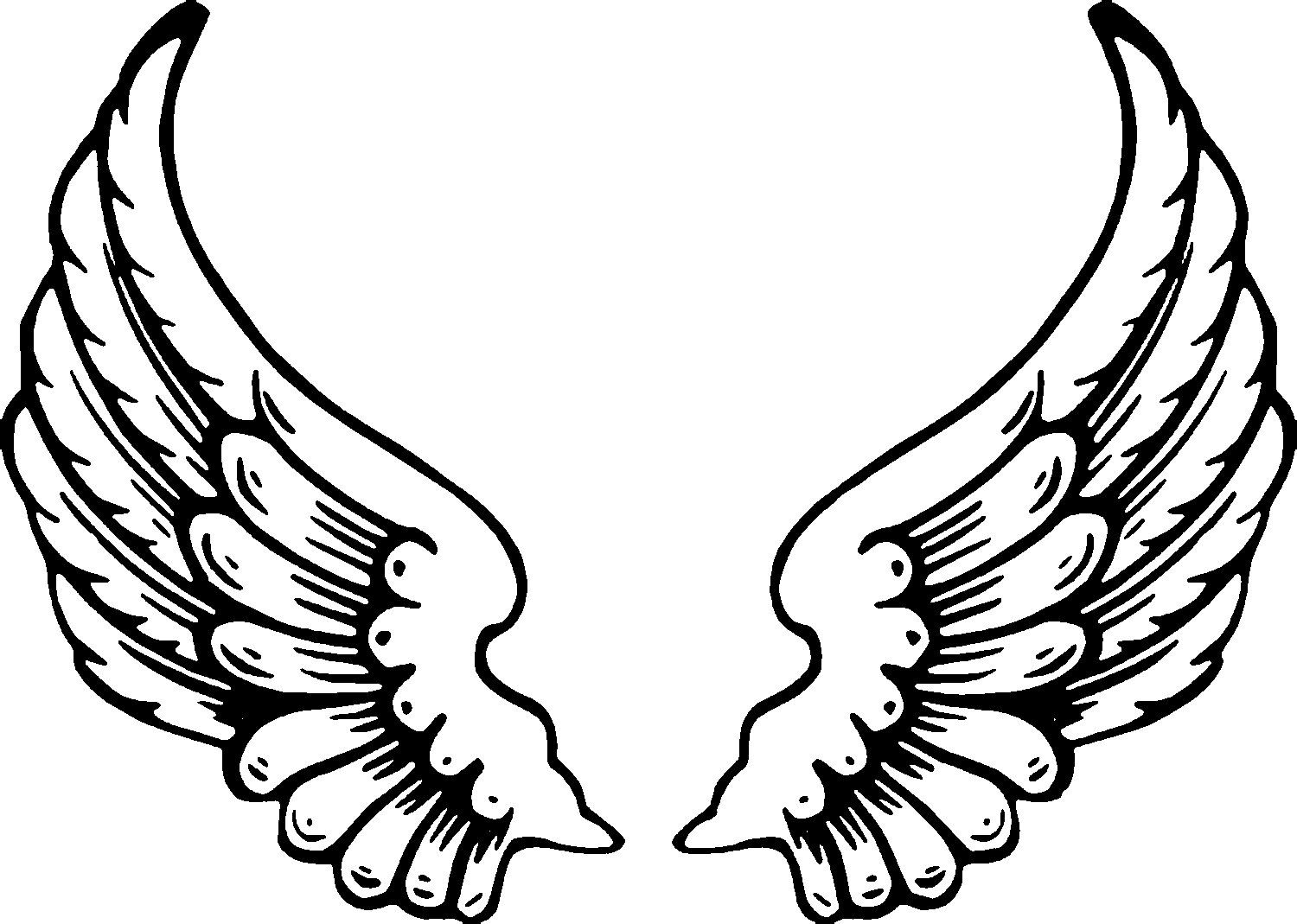 1500x1069 Cartoon Wings Drawing And Free Printable Angel Coloring Pages