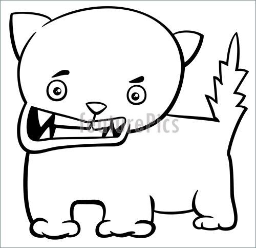 500x483 Angry Kitten Coloring