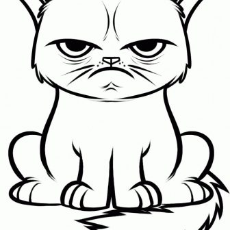 336x336 Cat Whiskers Face Drawing Angry Simple A On Person Line Step