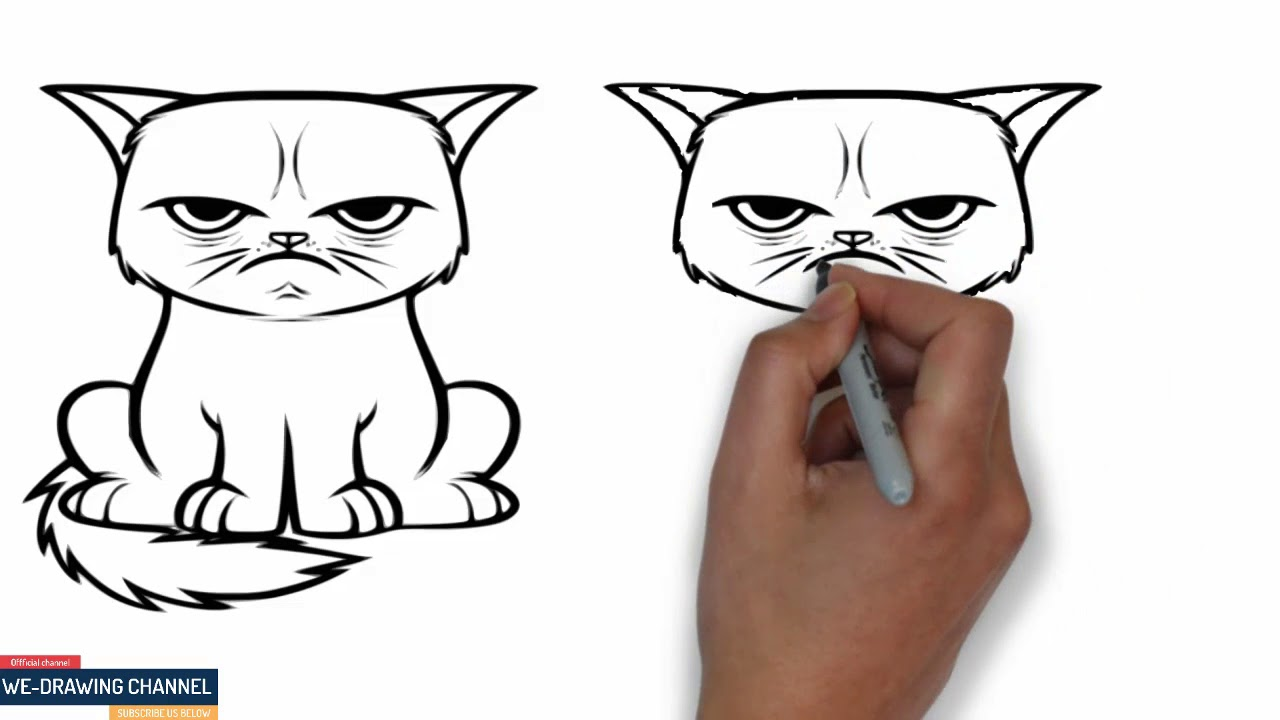 1280x720 We Drawing How To Drawing Angry Cat For Kids