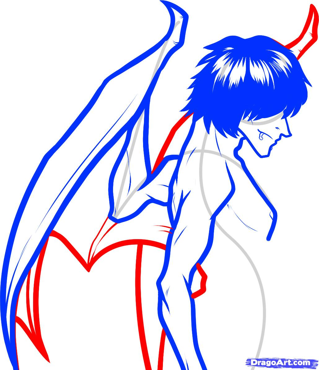 1030x1196 how to draw a devil boy, devil boy, demon boy, step