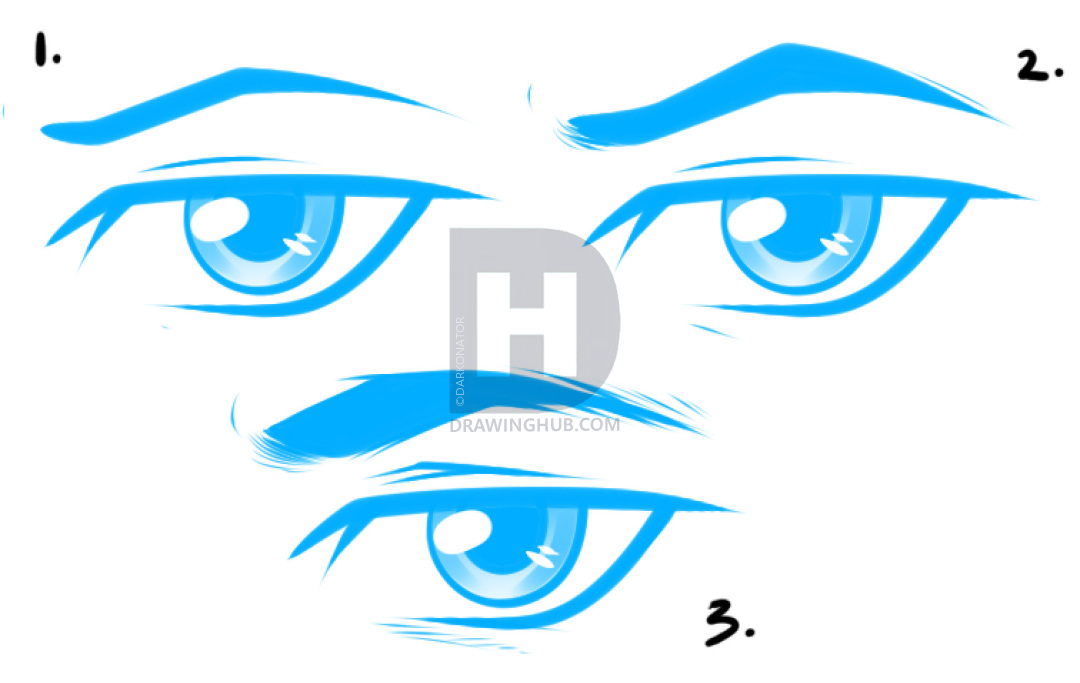 1080x683 How To Draw Anime Male Eyes, Step