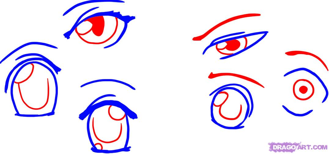 1076x504 How To Draw Anime Eyes, Step