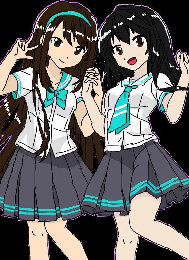 639x876 anime schoolgirl friends uniform fanart art drawing har
