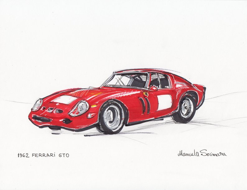 794x612 Classic Car Drawing Antique Car Print Retro Illustration Old Etsy
