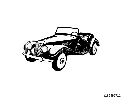 500x400 Classic Old Car For Collection Illustration Hand Drawing Logo