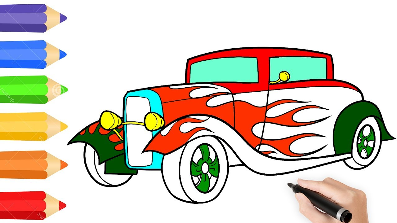 1280x720 How To Draw Classic Car Coloring Pages For Kids To Learn Color