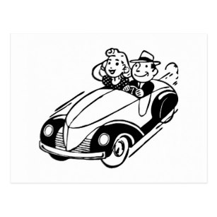 307x307 Vintage Car Drawing Postcards Zazzle Ca