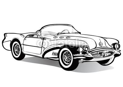 400x283 Vintage Car Cabriolet Roofless, Sketch, Coloring Book, Black