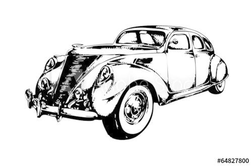 500x329 Retro Vintage Car Speed Drawing Art