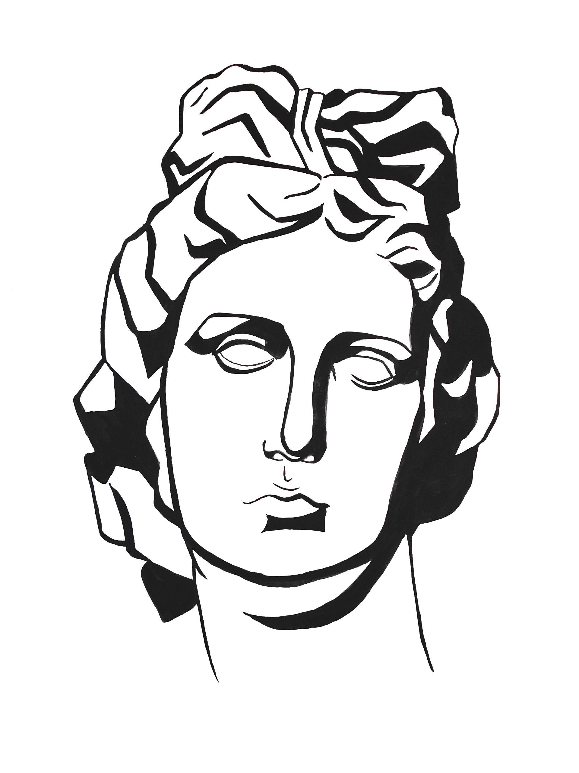 1920x2560 apollo`s plaster head, gouache drawing draw tattoo