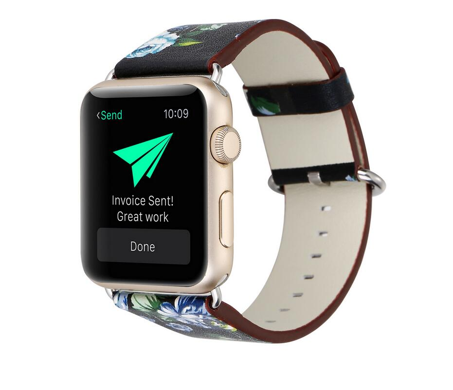 931x802 National Drawing Printed Leather Watch Band Strap For Apple