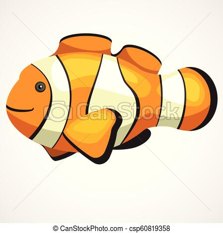 450x470 cute aquarium clown fish cartoon vector drawing gold aquarium