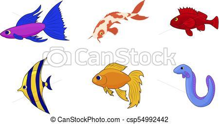 450x256 aquarium fish icon set, cartoon style aquarium fish icon
