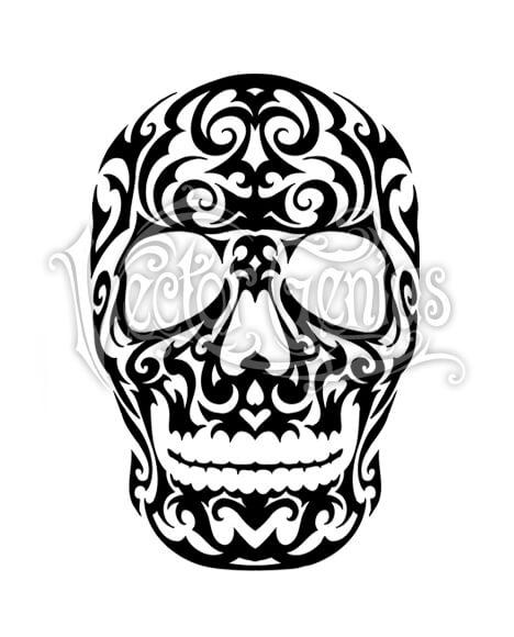 468x580 Ornate Tribal Skull Tattoo Flash Design Stock Art