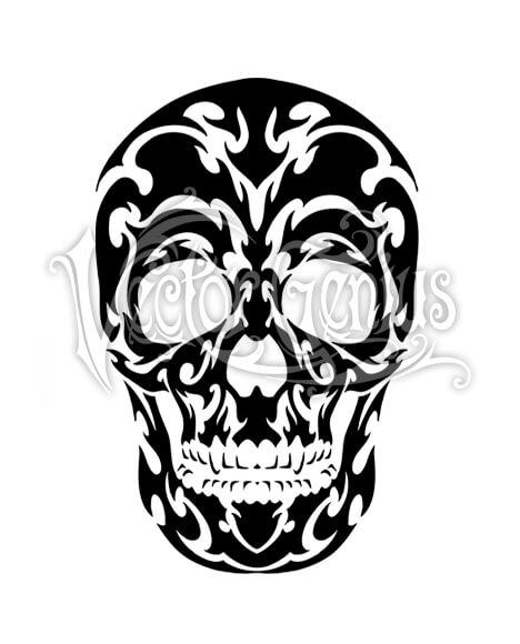 468x580 Tribal Skull Design Tattoo Flash Stock Art