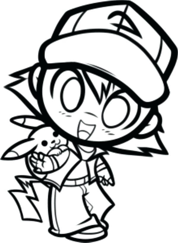 600x822 Colouring Pages To Print Coloring Ash And Printable Pikachu
