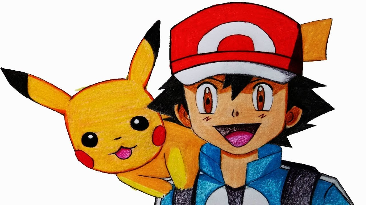 1280x720 How To Draw Ash Ketchum With Pikachu Step
