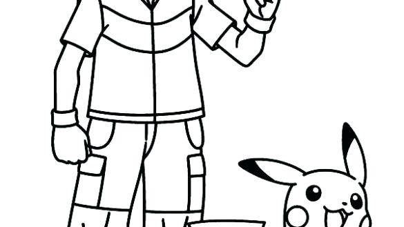 585x329 Pokemon Ash And Pikachu Coloring Pages Awesome Inspiration Ideas