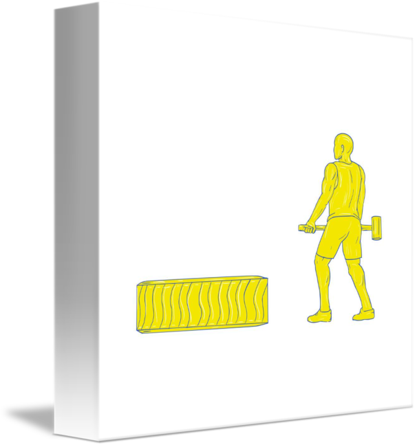 606x650 Fitness Athlete Hammer Workout Drawing