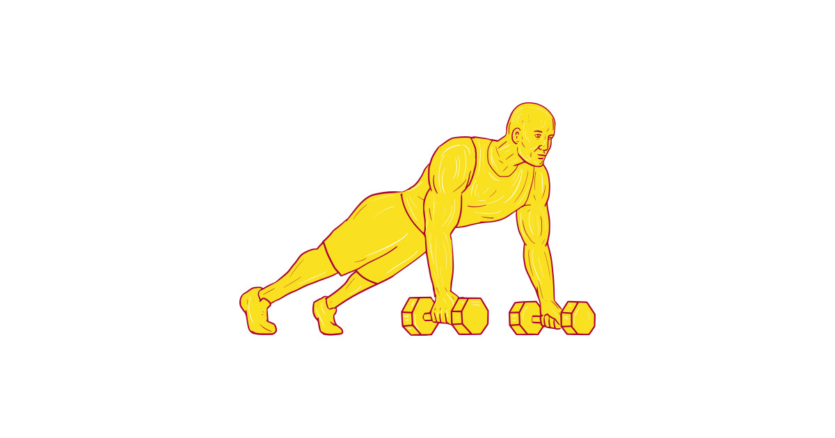 1200x630 Fitness Athlete Push Up Dumbbell Drawing