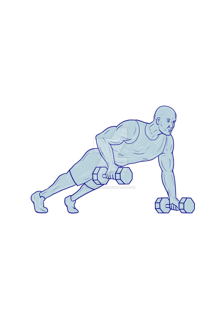 755x1057 Fitness Athlete Push Up One Hand Dumbbell Drawing