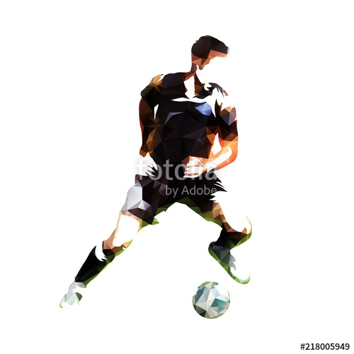 500x500 Football Player With Ball, Soccer Athlete Low Poly Vector