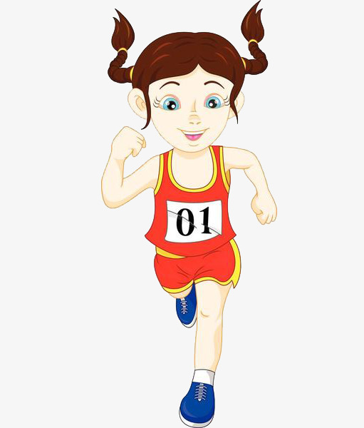 511x600 Number Female Athlete, Number Clipart, Cartoon Hand Drawing, Run