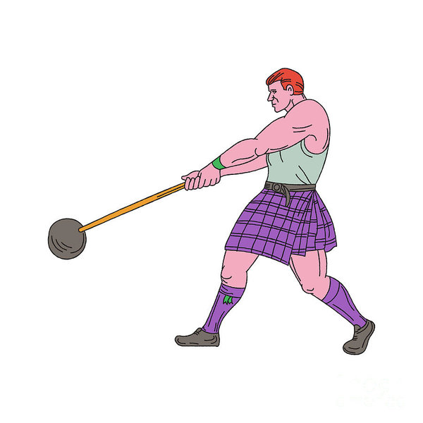 600x600 Weight Throw Highland Games Athlete Drawing Poster