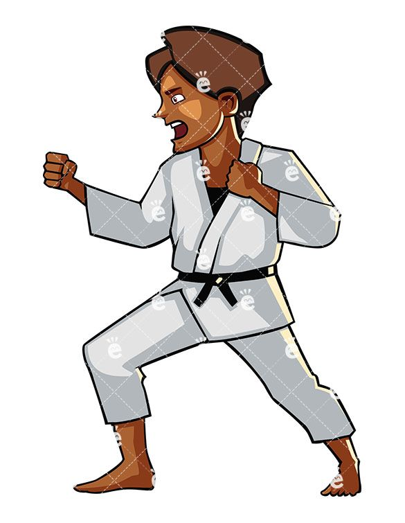 585x755 A Shouting Black Female Doing Karate Martial Arts Clipart