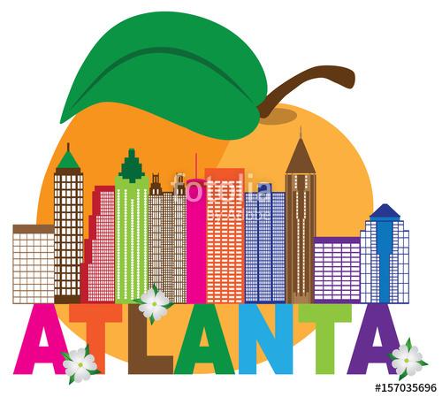 500x449 Atlanta Skyline Peach Dogwood Colorful Text Illustration Stock