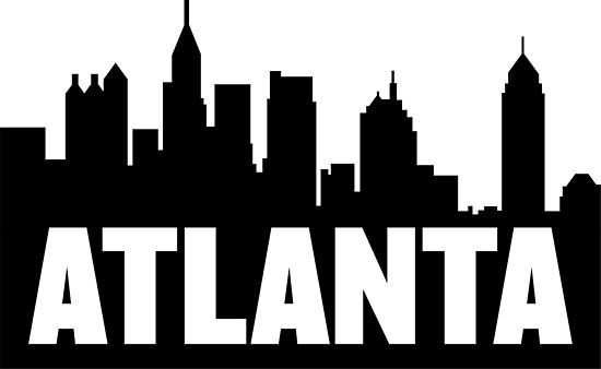550x338 Atlanta, Georgia City Skyline Silhouette Posters