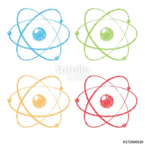 500x500 model of atom atom icon pencil drawing vector illustration