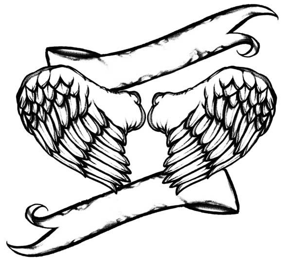 590x550 Angel Wing Line Art Heart With Angel Wings Drawings Tatoos