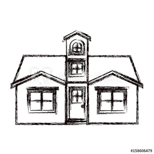 500x500 Monochrome Blurred Silhouette Facade House With Attic Vector
