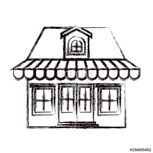 500x500 Monochrome Blurred Silhouette Of Store With Awning And Attic